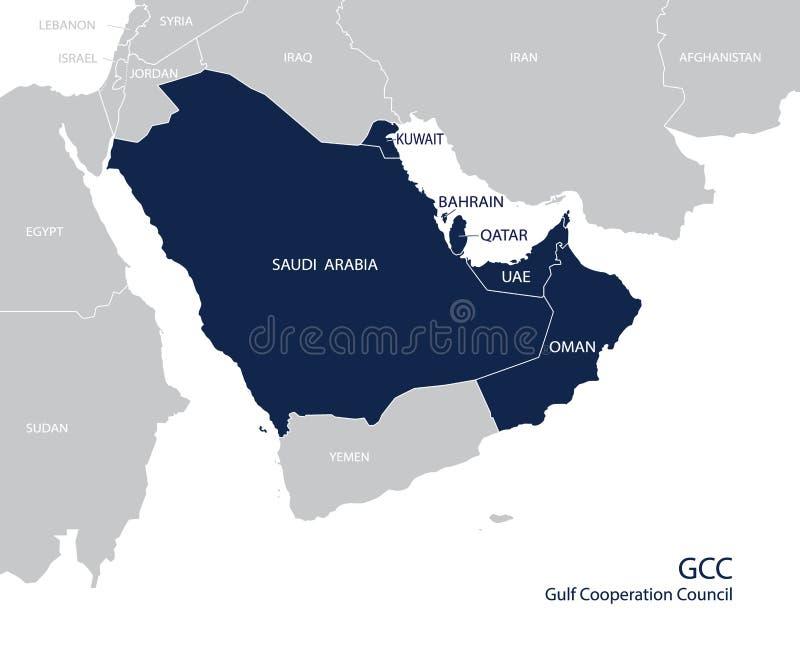 Mapa dos membros do ` s do GCC do Conselho de Cooperação do Golfo Vetor ilustração stock