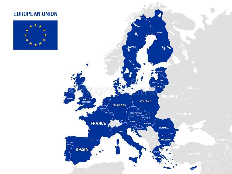 Mapa dos países da União Europeia Nomes do país membro da UE, ilustração do vetor dos mapas de lugar da terra de Europa ilustração royalty free