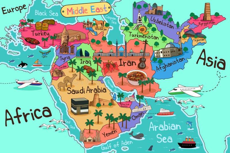 Mapa dos países de Médio Oriente no estilo dos desenhos animados ilustração do vetor