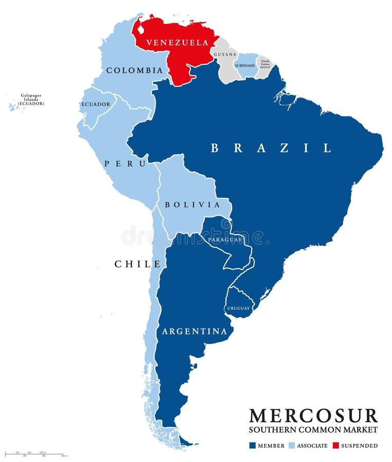 Mapa dos países do MERCOSUR com Venezuela suspendida ilustração royalty free