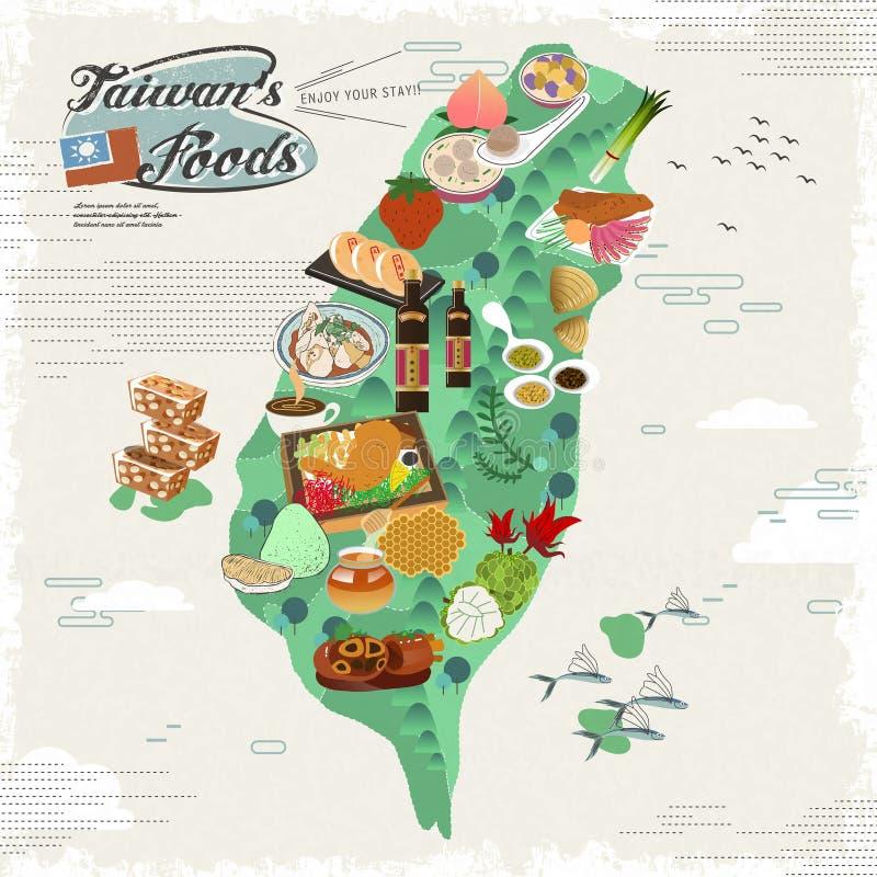 Mapa dos petiscos de Taiwan ilustração royalty free
