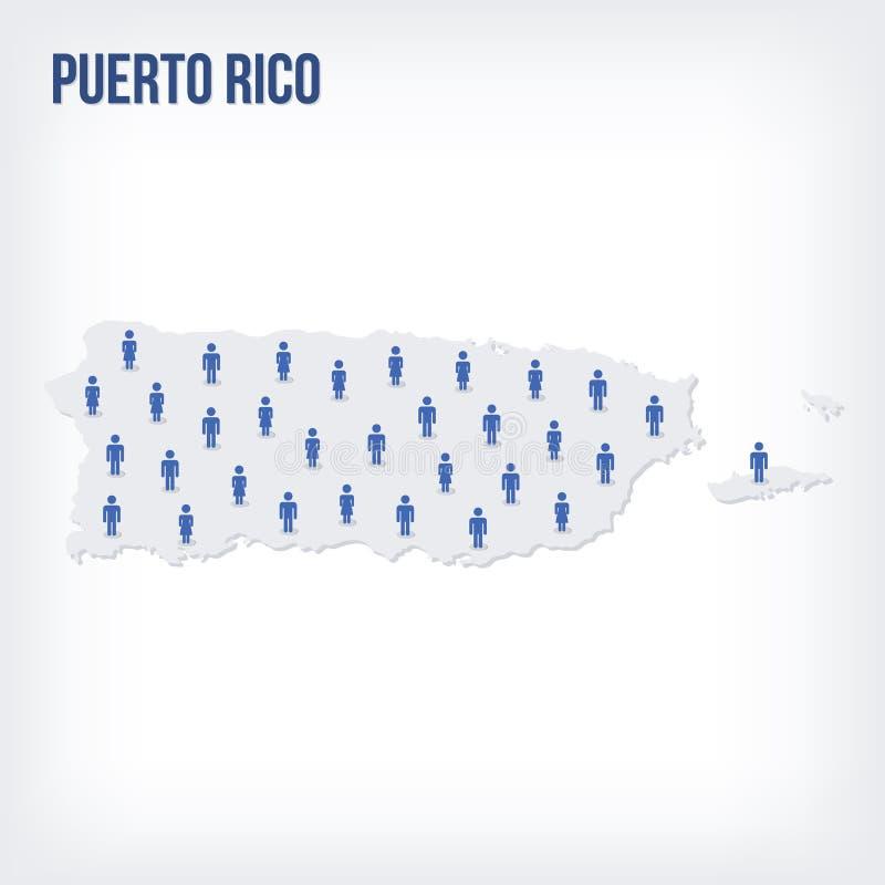 Mapa dos povos do vetor de Porto Rico O conceito da população ilustração do vetor