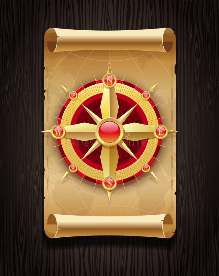 Mapa dourado da rosa de compasso & do rolo do vintage ilustração royalty free