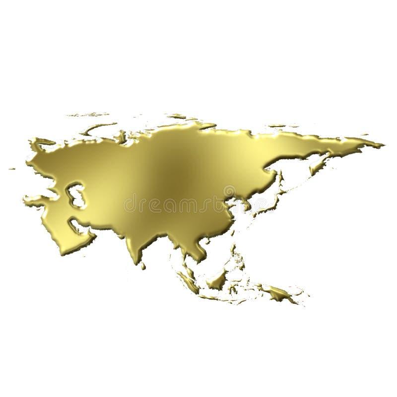 Mapa dourado de Ásia 3D ilustração do vetor