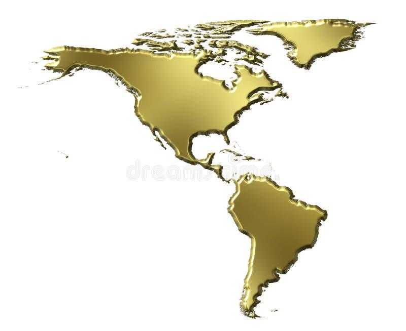 Mapa dourado de América 3d ilustração do vetor