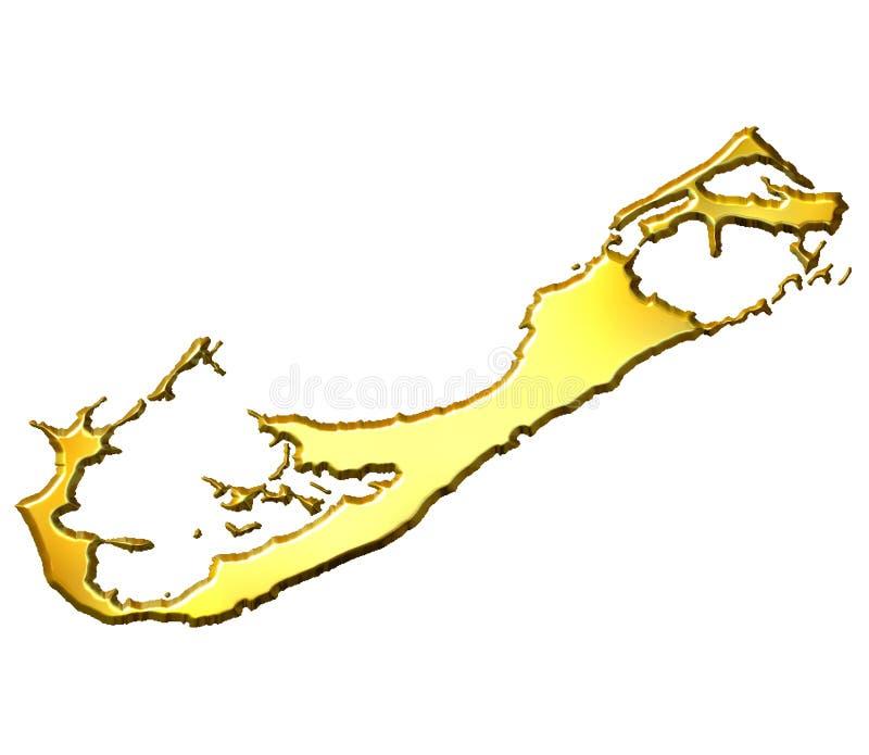 Mapa dourado de Bermuda 3d ilustração stock
