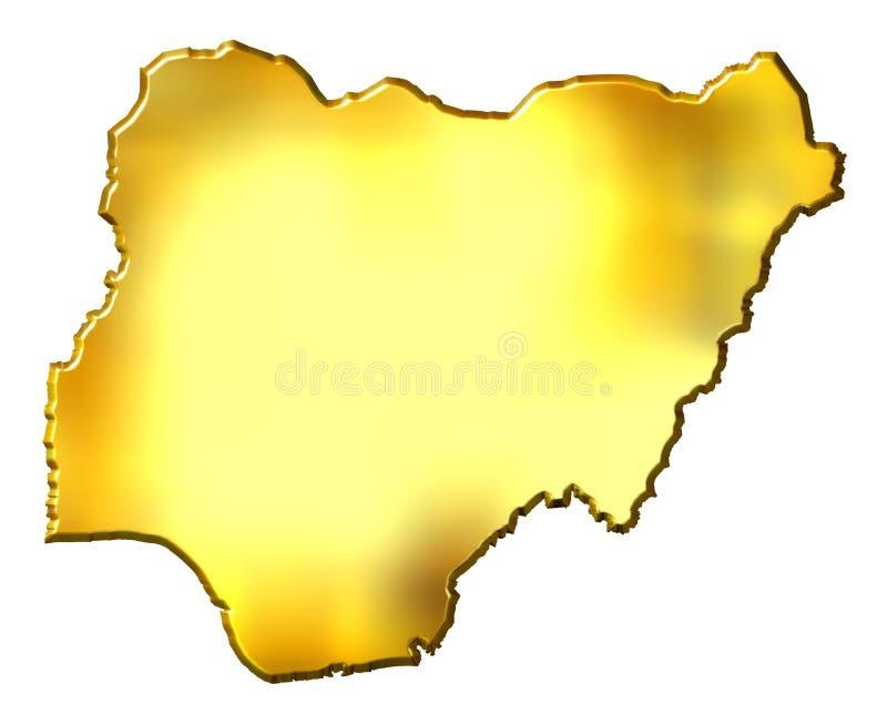 Mapa dourado de Nigéria 3d ilustração do vetor