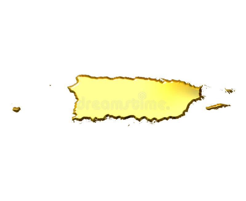 Mapa dourado de Puerto Rico 3d ilustração stock