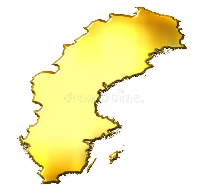 Mapa dourado de Sweden 3d ilustração royalty free