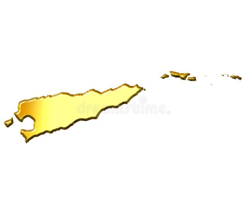Mapa dourado de Timor Oriental 3d ilustração stock