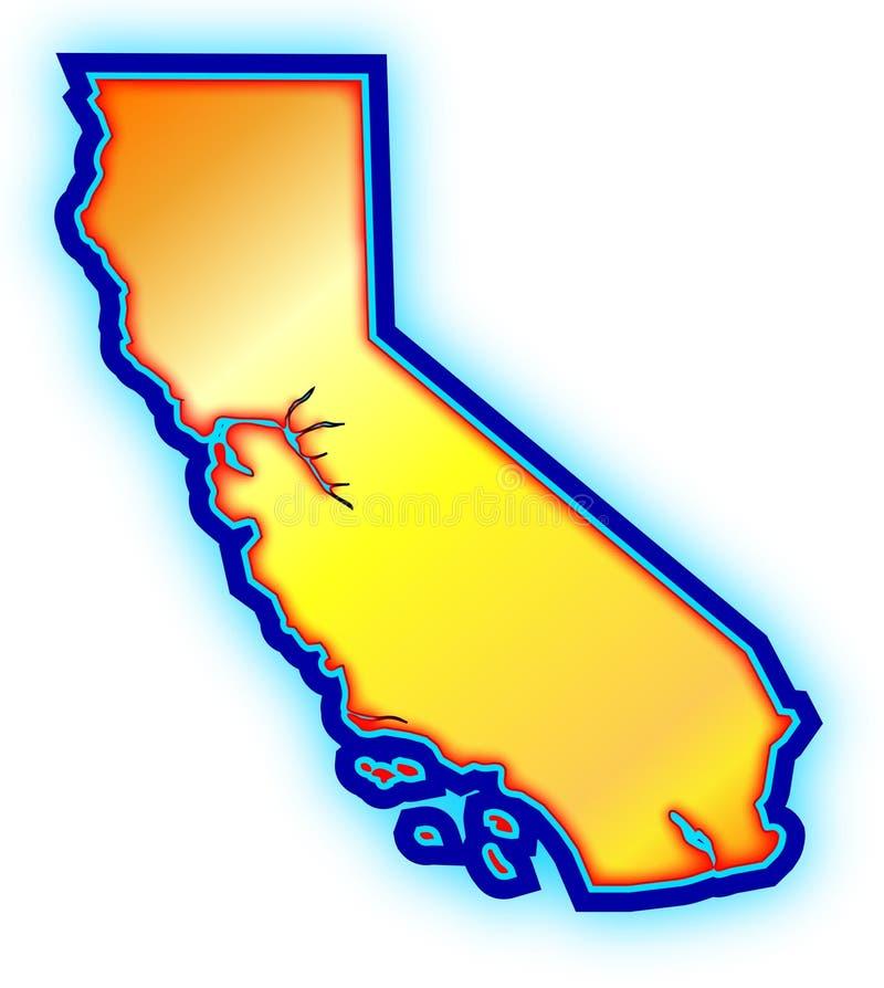 Mapa dourado do estado de Califórnia ilustração stock