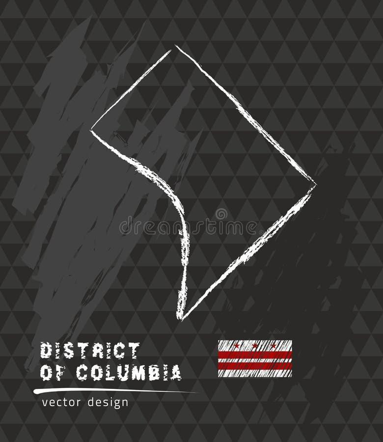 Mapa dystrykt kolumbii, Kredowa nakreślenie wektoru ilustracja royalty ilustracja
