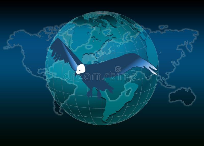 Mapa e águia de mundo ilustração royalty free