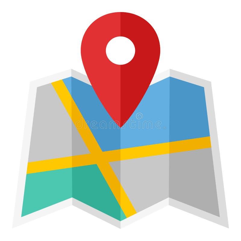 Mapa e ícone liso do marcador do lugar no branco ilustração royalty free