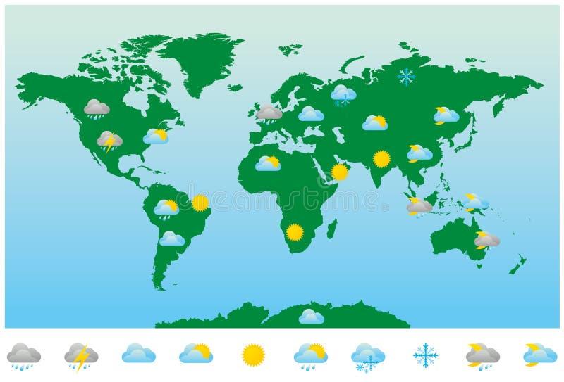 Mapa e ícones da previsão de tempo do mundo ilustração royalty free
