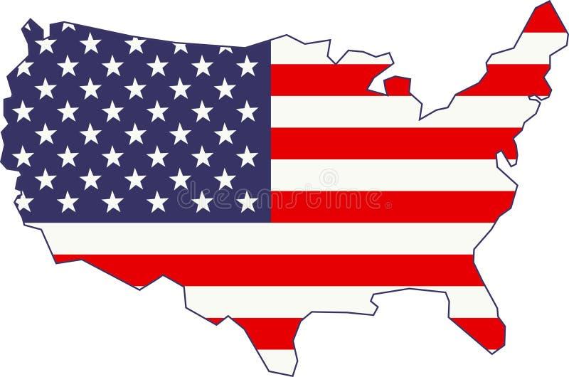 Mapa e bandeira americanos ilustração do vetor