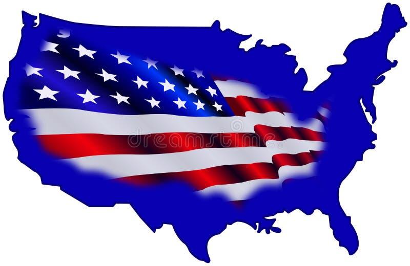 Mapa e bandeira americanos ilustração stock