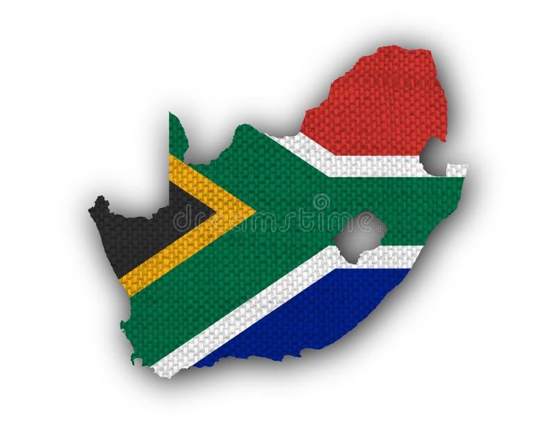Mapa e bandeira de África do Sul no linho velho ilustração stock
