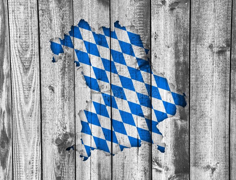 Mapa e bandeira de Baviera na madeira resistida imagem de stock