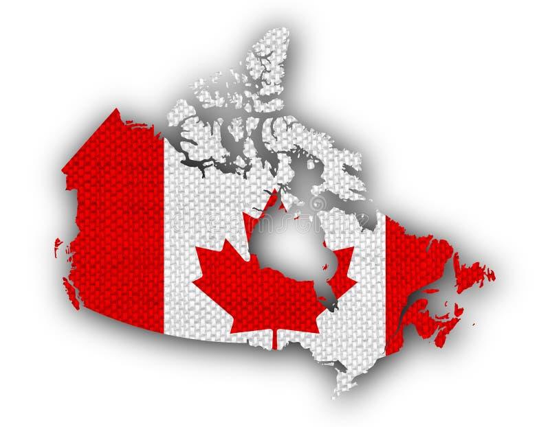 Mapa e bandeira de Canadá no linho velho ilustração royalty free