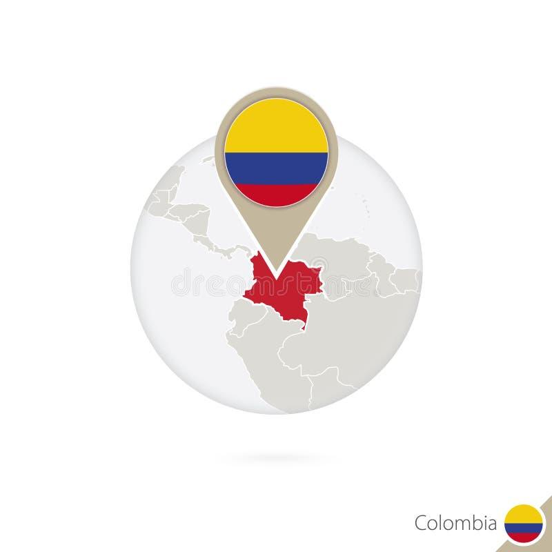 Mapa e bandeira de Colômbia no círculo Mapa bandeira de Colômbia, Colômbia ilustração royalty free