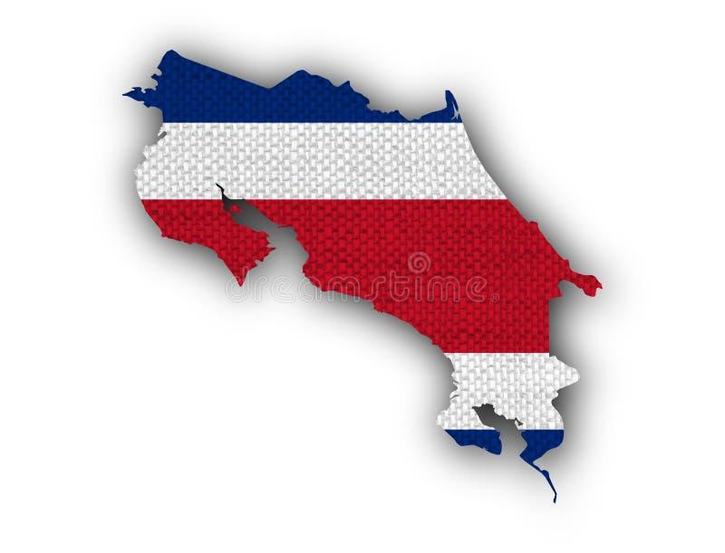 Mapa e bandeira de Costa Rica no linho velho ilustração do vetor