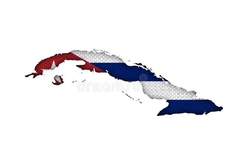 Mapa e bandeira de Cuba no linho velho ilustração stock