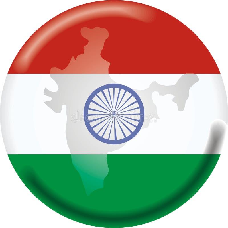 Mapa e bandeira de India ilustração stock