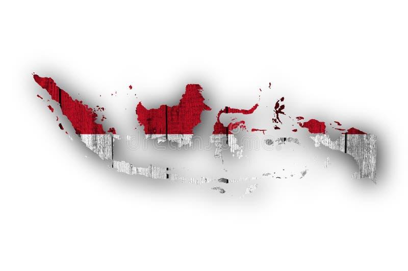 Mapa e bandeira de Indonésia na madeira resistida ilustração do vetor