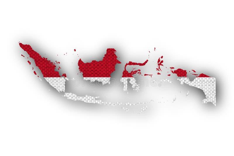 Mapa e bandeira de Indonésia no linho velho ilustração stock