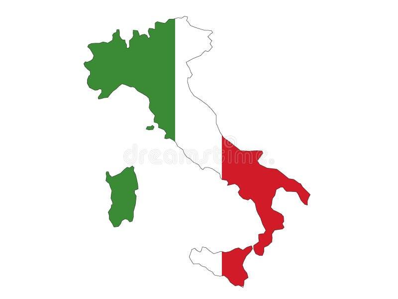 Mapa e bandeira de Italy ilustração do vetor