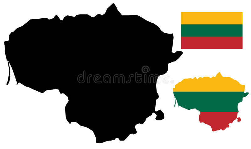 Mapa e bandeira de Lithuania ilustração royalty free