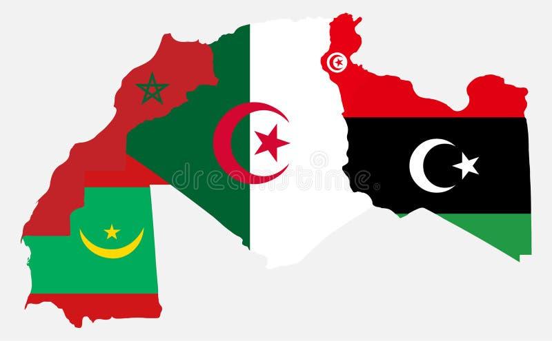 Mapa e bandeira de Marrocos Tunísia Líbia Mauritânia ilustração do vetor