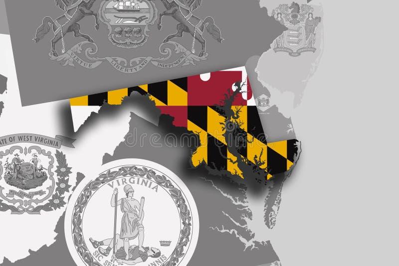 Mapa e bandeira de Maryland ilustração royalty free