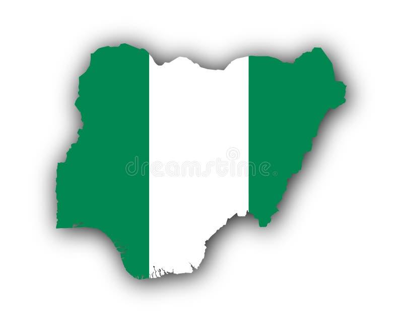 Mapa e bandeira de Nigéria ilustração do vetor