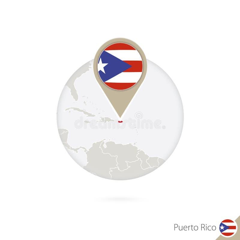 Mapa e bandeira de Porto Rico no círculo Mapa pino da bandeira de Porto Rico, Porto Rico Mapa de Porto Rico ao estilo do globo ilustração stock