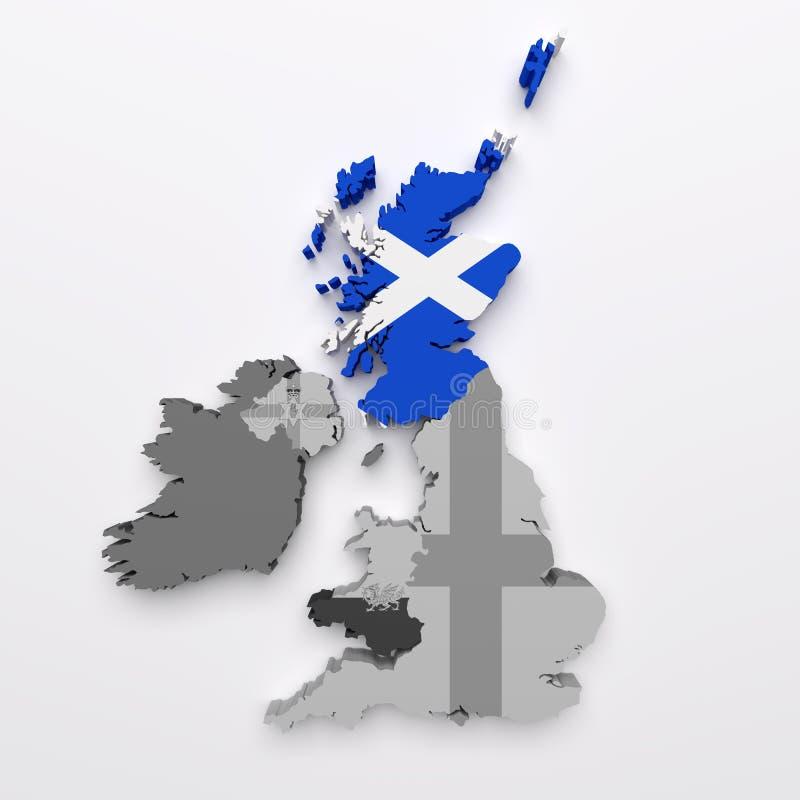 Mapa e bandeira de Scotland ilustração stock