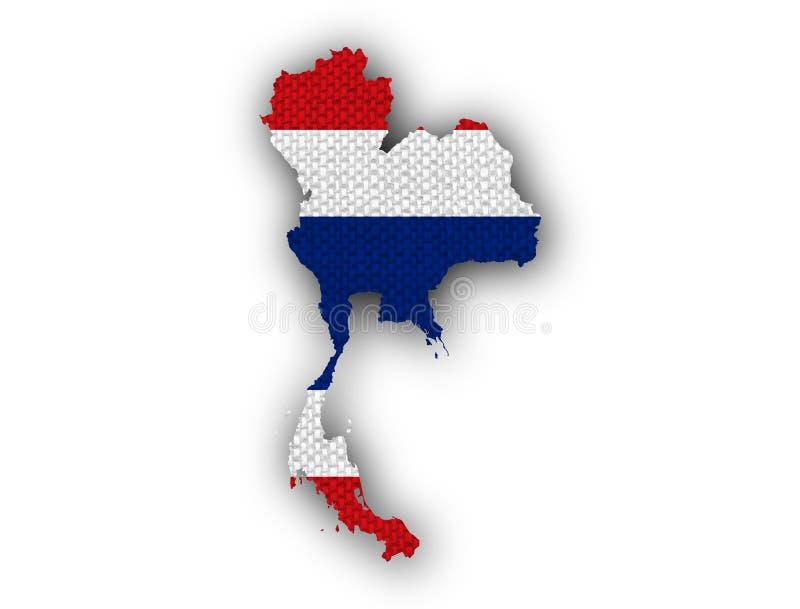 Mapa e bandeira de Tailândia no linho velho fotos de stock royalty free