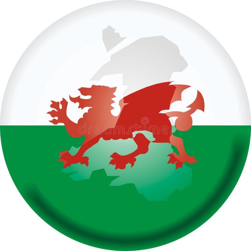 Mapa e bandeira de Wales ilustração do vetor