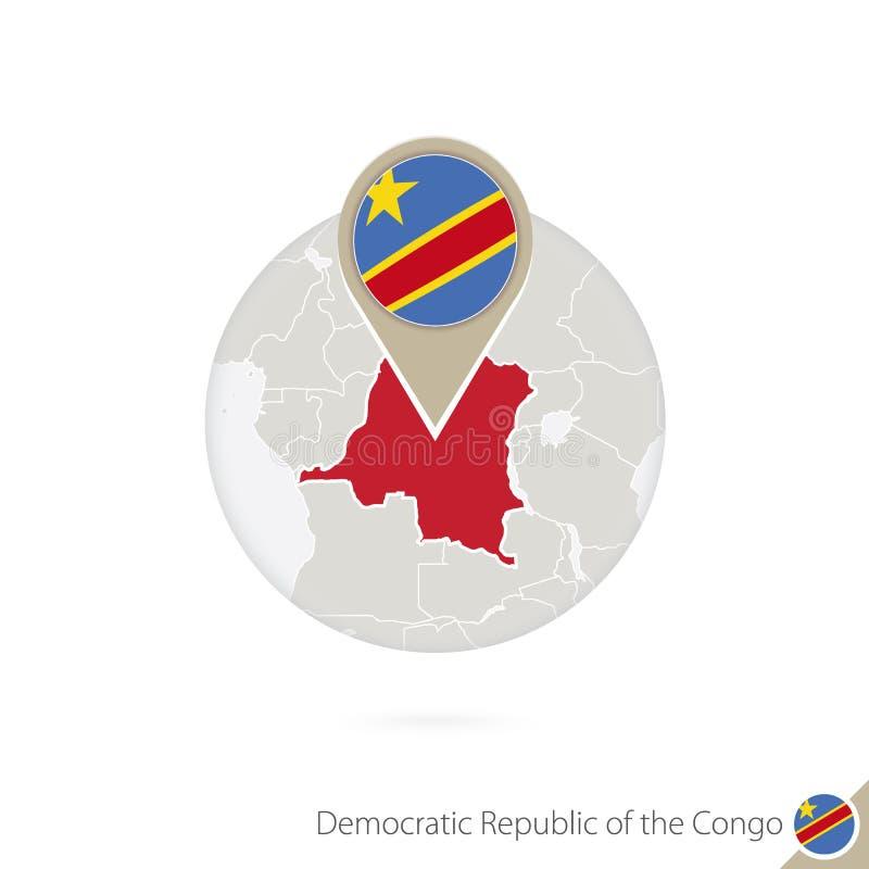 Mapa e bandeira do Dr. Congo no círculo Mapa do Dr. Congo, bandeira do Dr. Congo ilustração stock