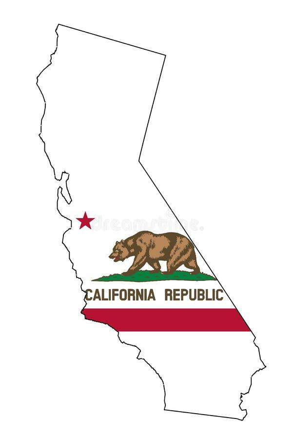Mapa e bandeira do esboço do estado de Califórnia ilustração stock