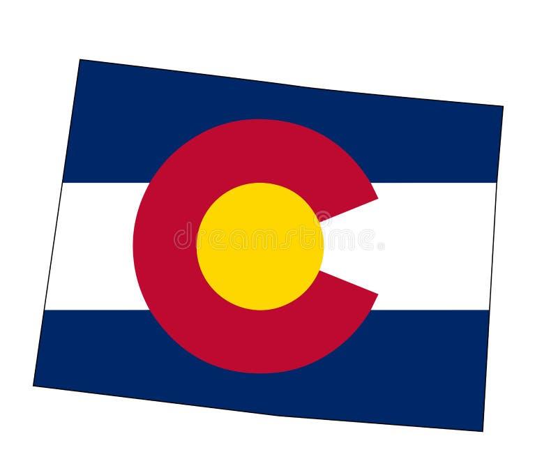 Mapa e bandeira do esboço do estado de Colorado ilustração do vetor
