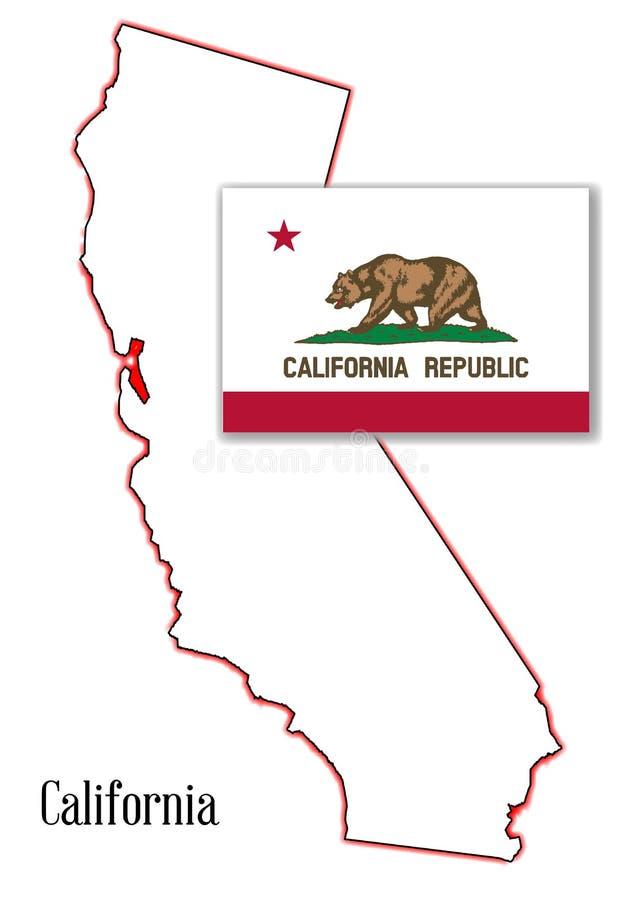 Mapa e bandeira do estado de Califórnia ilustração do vetor