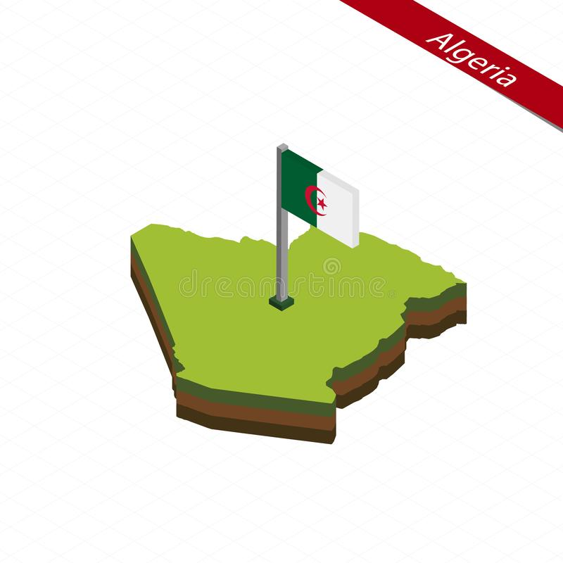 Mapa e bandeira isométricos de Argélia Ilustração do vetor ilustração stock