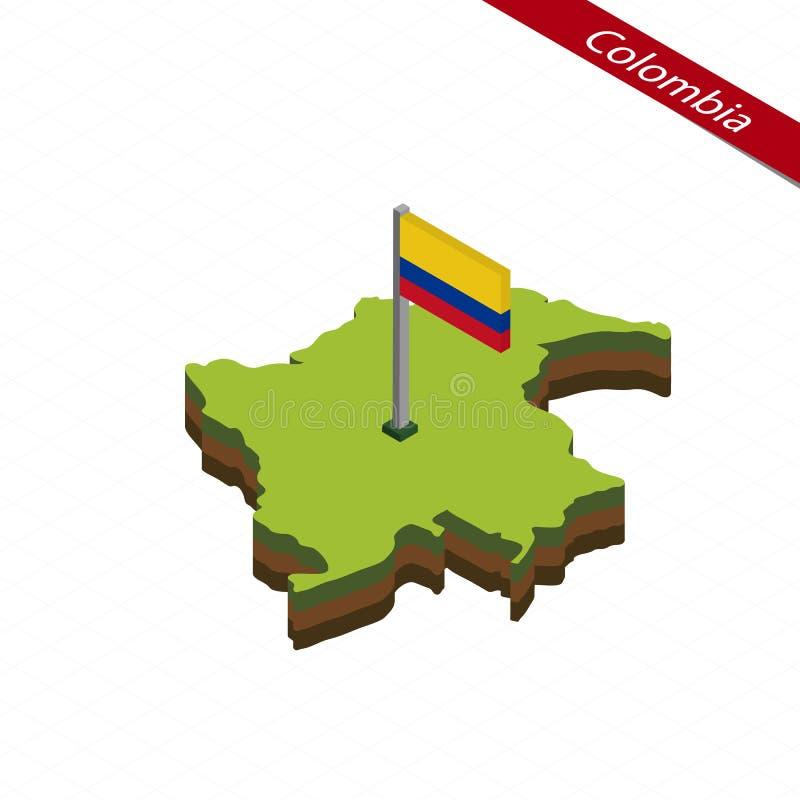 Mapa e bandeira isométricos de Colômbia Ilustração do vetor ilustração do vetor