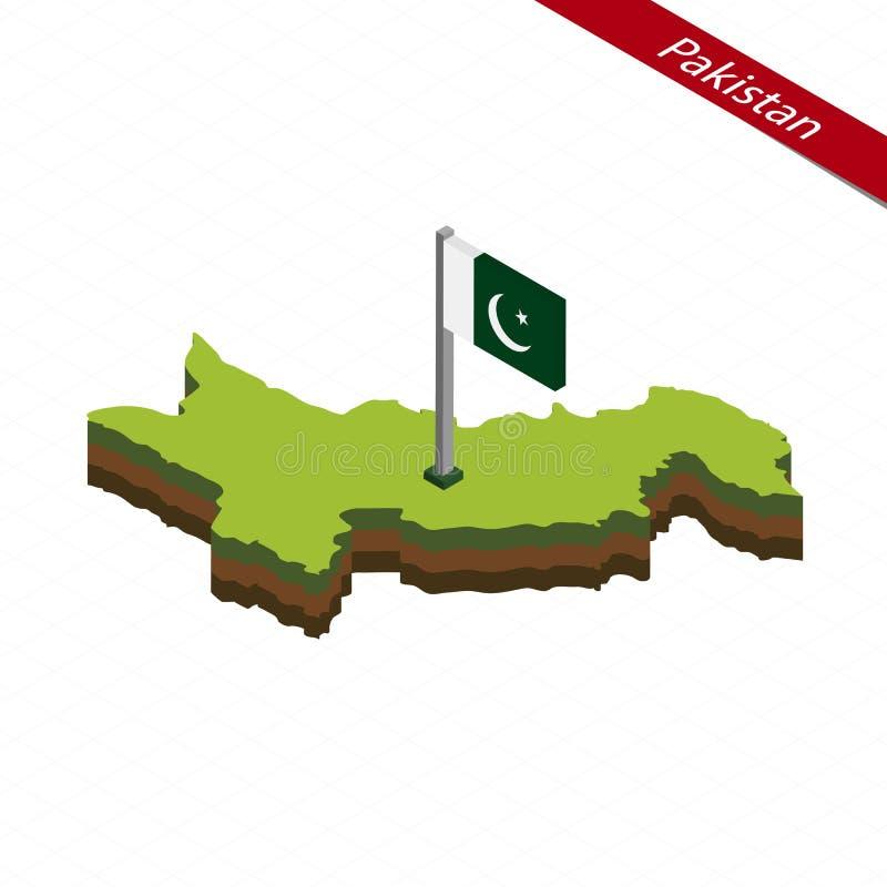 Mapa e bandeira isométricos de Paquistão Ilustração do vetor ilustração stock