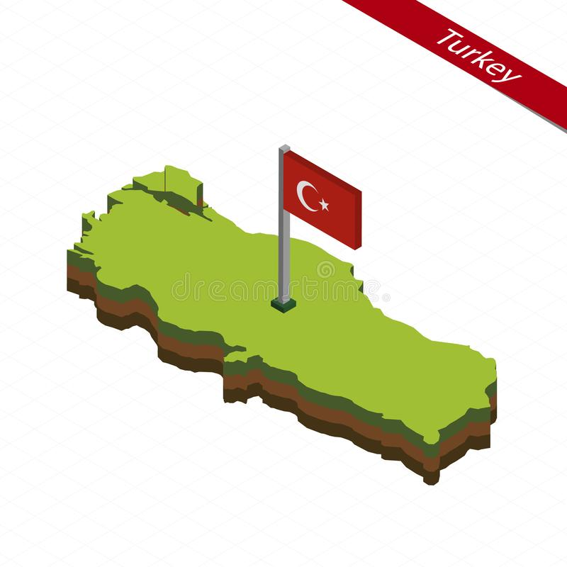 Mapa e bandeira isométricos de Turquia Ilustração do vetor ilustração do vetor