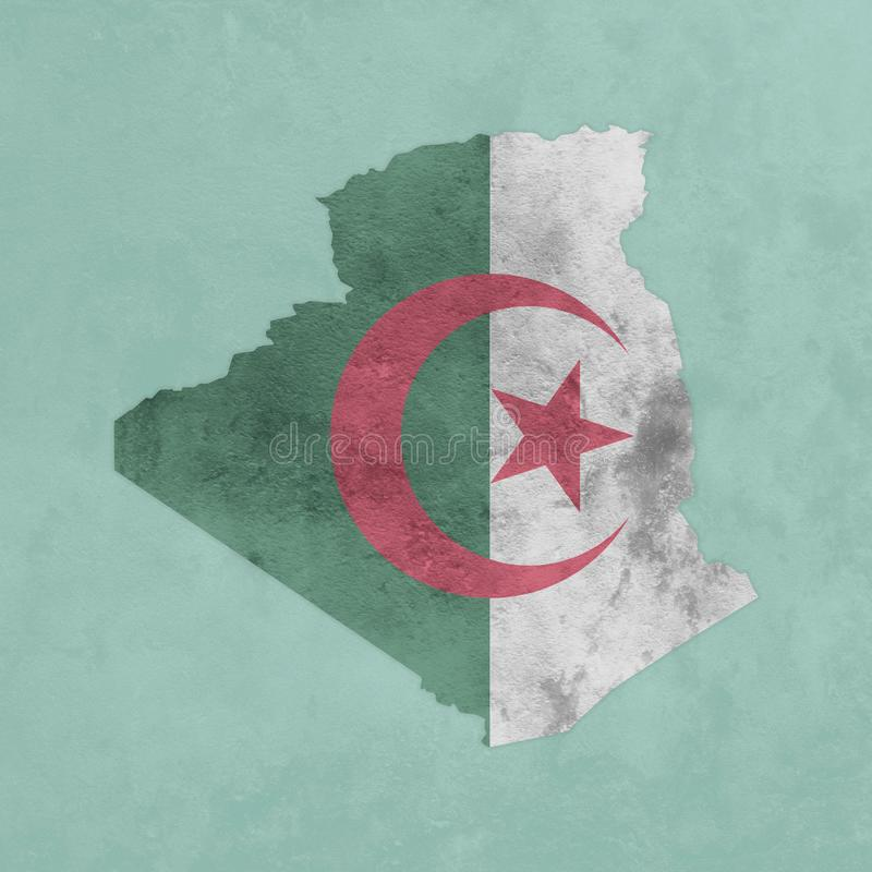 Mapa e bandeira Textured de Argélia ilustração royalty free