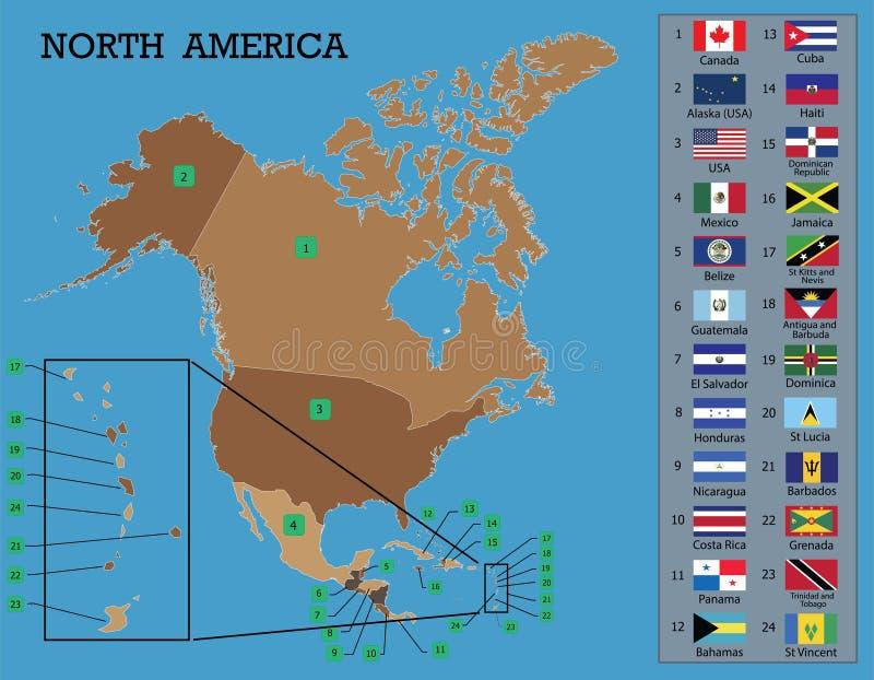 Mapa e bandeiras norte-americanos ilustração stock