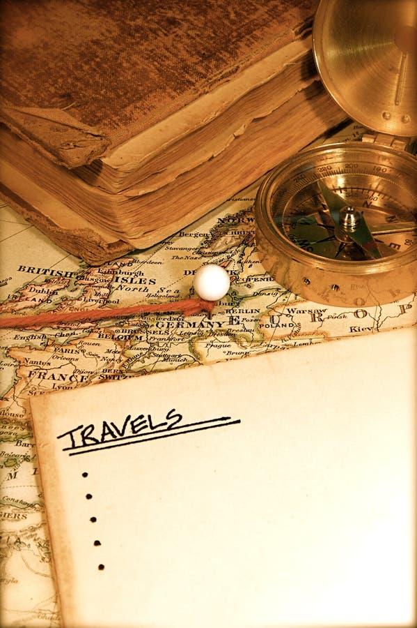 Mapa e carta do vintage fotos de stock